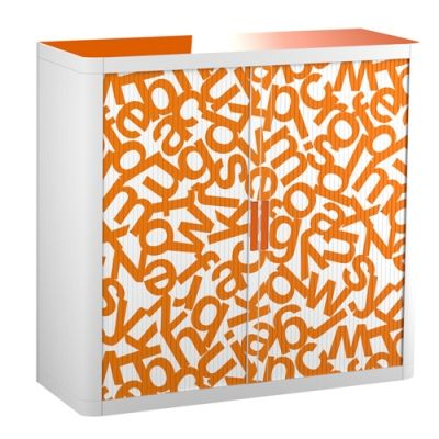 Paperflow easyOffice Storage Cabinet, 41 inch Tall with Two Shelves, Orange Alphabet