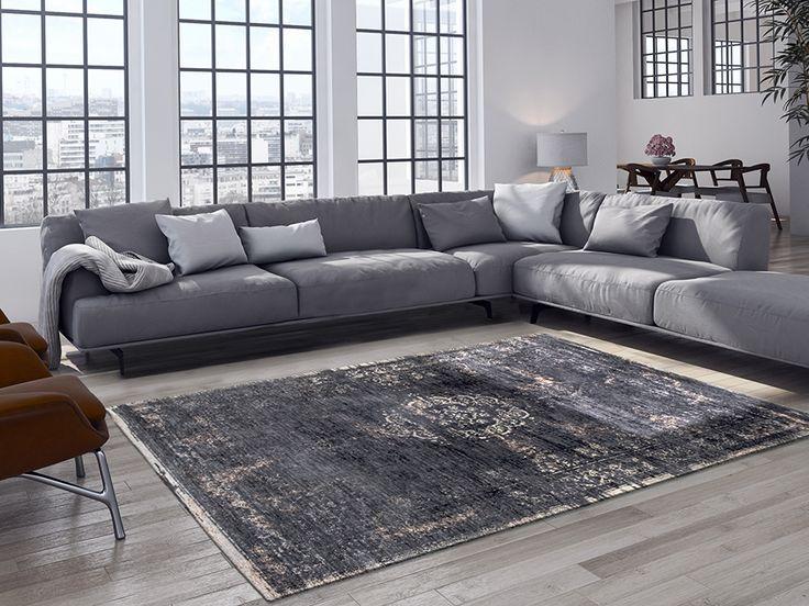 Fur Deco | cotton-wool rug medallion - mineral black