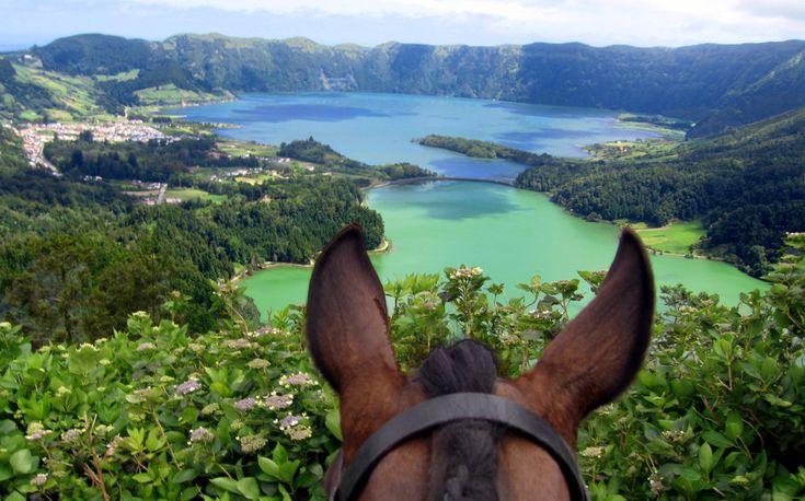 Horseback riding in Sao Miguel. Amazing scenery.