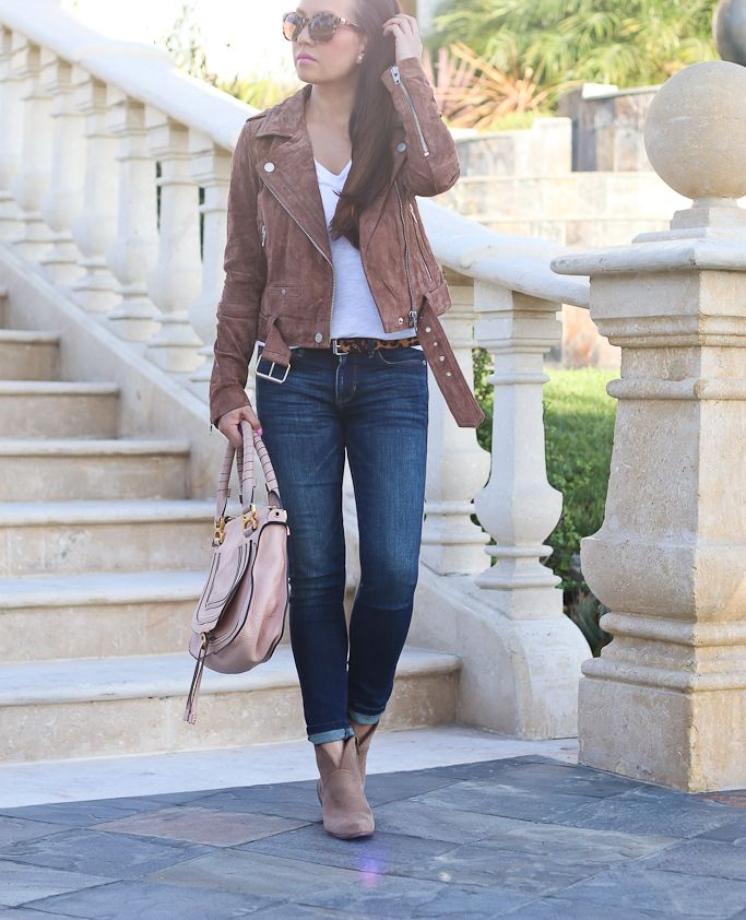 ankle jeans, MORNING SUEDE MOTO JACKET, Chloe marcie small leather satchel, Vince Camuto Franell western booties, leopard belt, petite fashion, casual outfit, fall outfit - click the photo for outfit details!