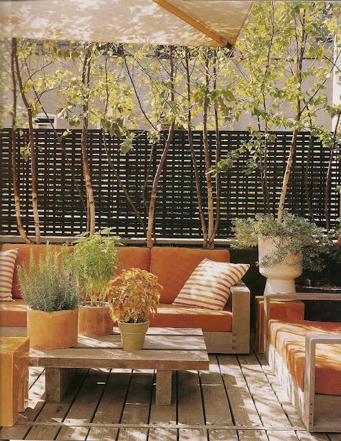 Outdoor Living. Outdoor furniture  Orange and Green gardening planters..  #PinterestandDesignWeek