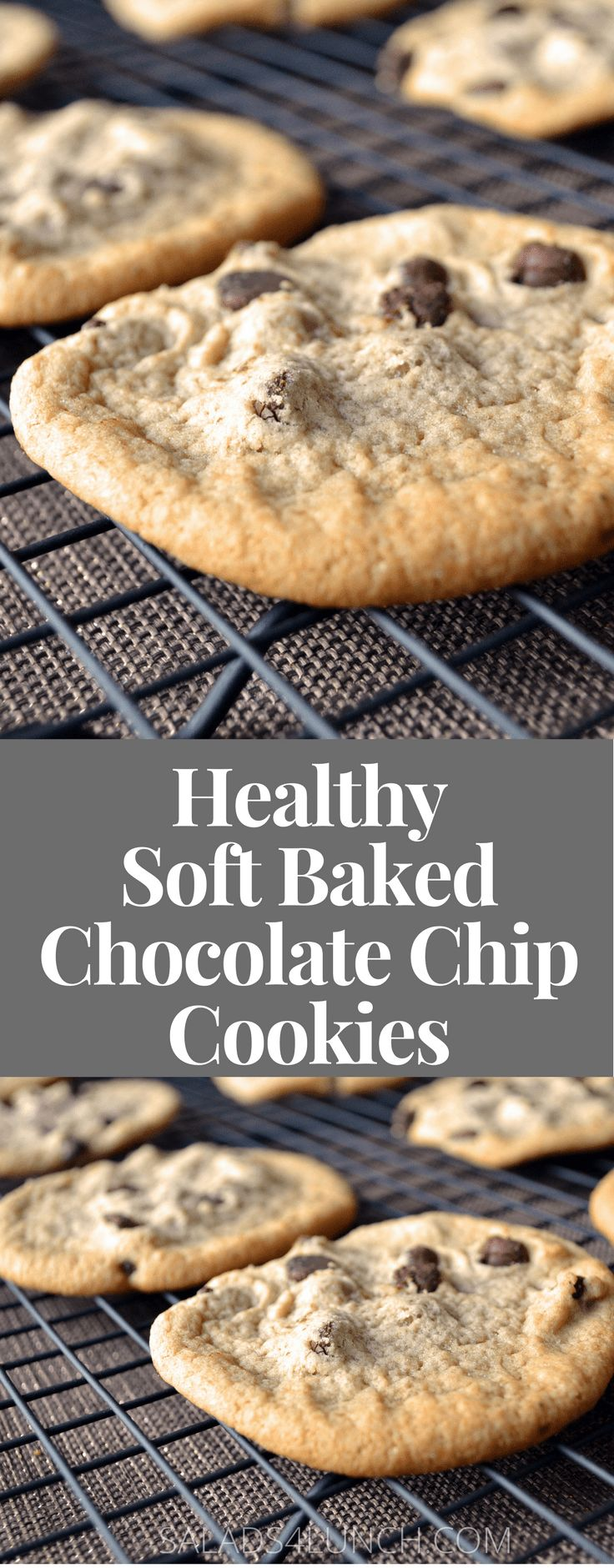 Healthy Soft Baked Chocolate Chip Cookies - easy and delicious! Warning: these chocolate chip cookies are best enjoyed with a tall glass of milk