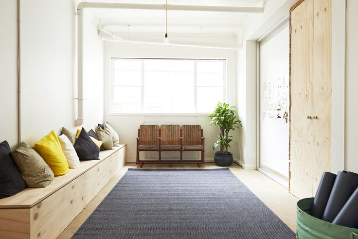 bench seating with white walls - perspective of what it would look like