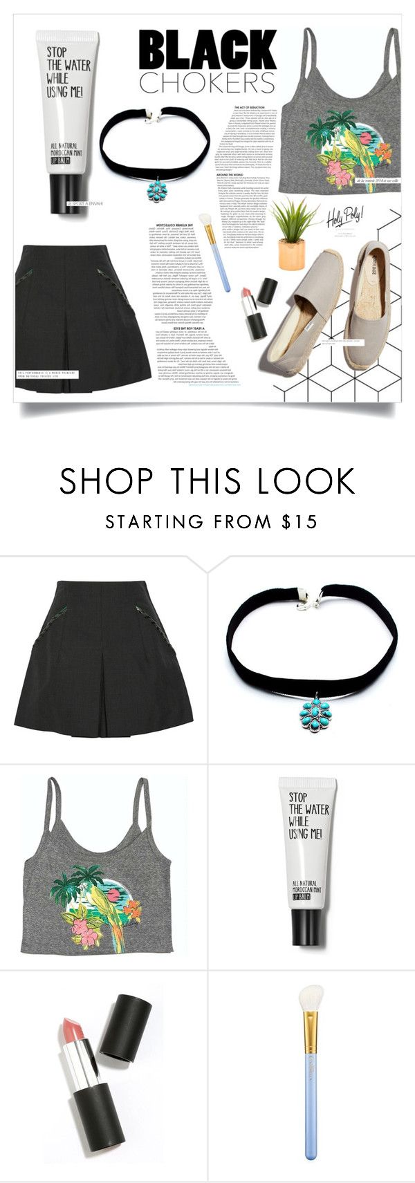 """Black Chockers"" by sti1551 on Polyvore featuring Toga, Child Of Wild, Soludos, Billabong, Sigma Beauty, MAC Cosmetics and Anja"