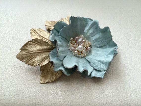 Sky blue leather flower brooch, Leather brooch, Handmade flower, Bridesmaids…
