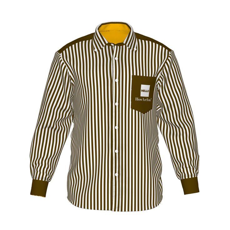 ●白茶ストライプのスタンダードなデザイン。●内側はエネルギッシュなオレンジのアクセントカラーで個性的に。●清潔で誠実な印象を与えるストライプ柄。裏地の色でさりげない個性とこだわりを。●メンズ・レディース問わず着用していただけるデザイン。■「Hello」は『制服でも、ユニフォームでも、タウンファッションでも。演出シーンはあなた次第。』がコンセプト。■裏地にアクセントカラーを使用した「HELLO」の「Accent」シリーズ。/HELLO Accent02 BRN - 茶ストライプ×橙 - HELLO