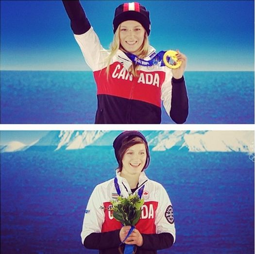 Dara Howell and Kim Lamarre on the podium with their medals.
