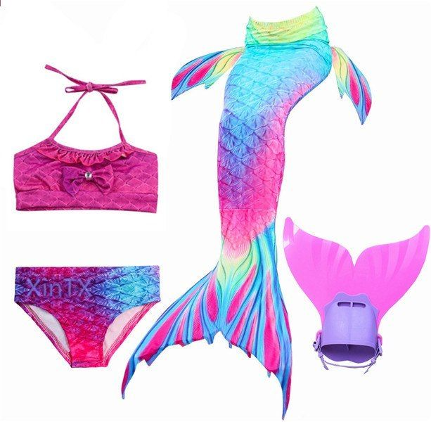 Women Kid Girl Mermaid Tail With Monofin Swimming Costumes Swimmable Flippe HC