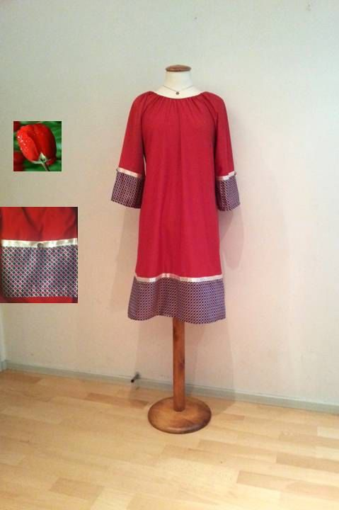 Red tunic dress sale black red dress long sleeves by WalinaWebshop