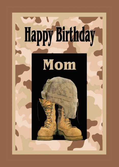Birthday For Military Mom Camo And Combat Boots Card Ad Ad