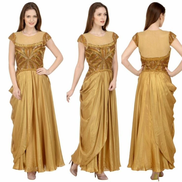 Gold foil georgette gown with pure hand embroidery with katdana, beads, sequins and side cowl drape attached to add an interesting complimenting drape to enhance overall look. Book this dress now and have latest offers from us. For more details and designs please visit offtheramp.com
