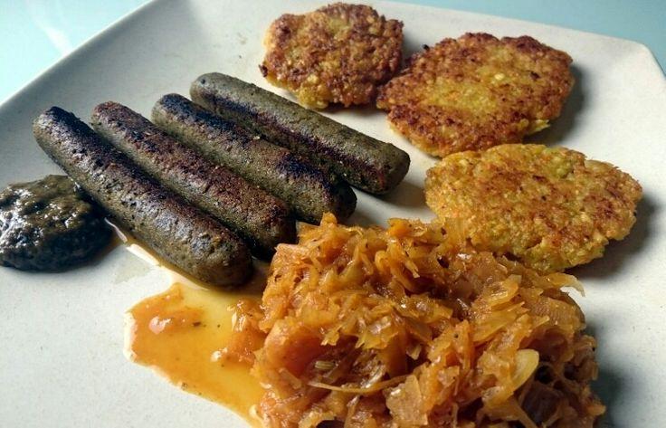 Erdnuss Bärlauchsenf,  mediterranes Kraut von Band 2- Karotten Kartoffelpuffer aus Band 1 mit veganen Fränkischen vom denns -sooo lecker
