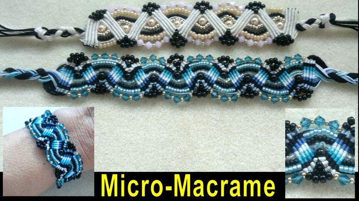 Beading4perfectionists: Micro-Macrame bracelet with Swarovski and Miyuki seedbeads beading tutorial