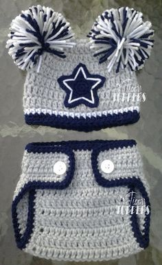 Crocheted Dallas Cowboys Hat and diaper cover set by TinyTippyToppers on Etsy https://www.etsy.com/listing/167240724/crocheted-dallas-cowboys-hat-and-diaper