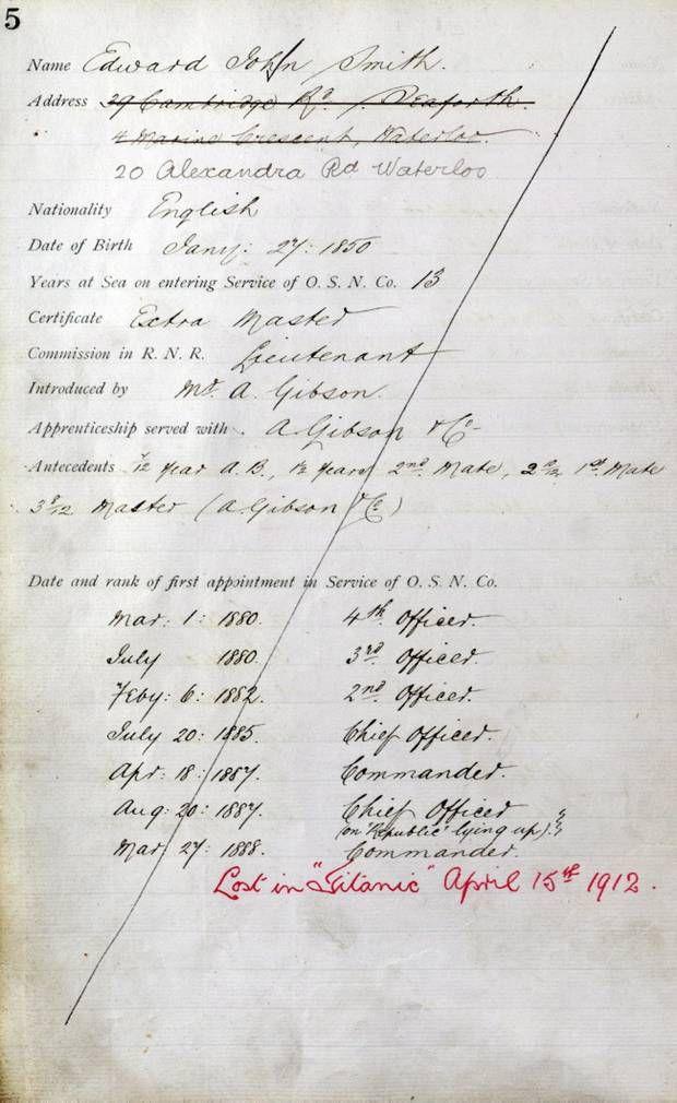 The employment record for Captain John Edward Smith.