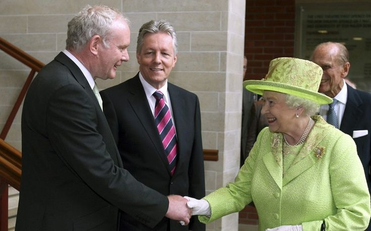 Queen Elizabeth shakes hands with Northern Ireland deputy first minister Martin McGuinness: