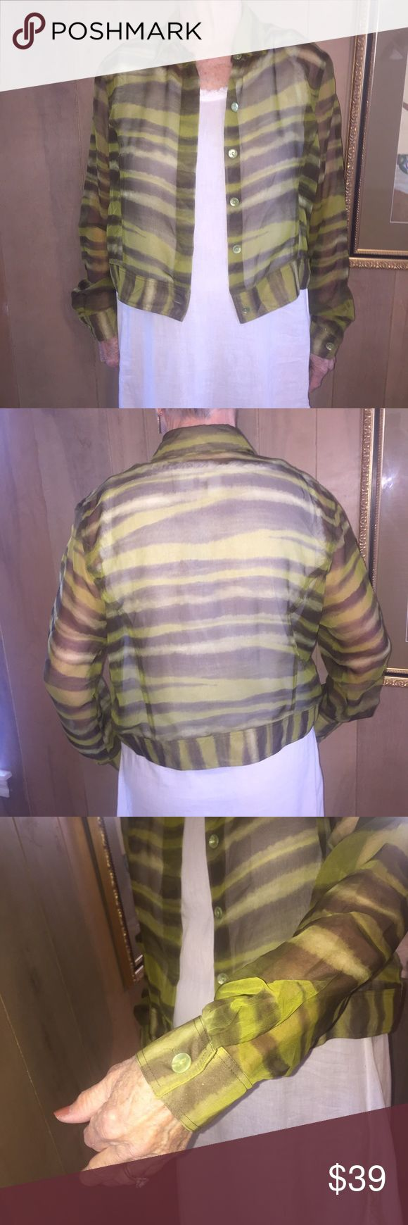 ❤️C'est Duo Watercolor Sheer Jacket. Sz XL ❤️C'est Duo Watercolor Sheer Jacket. Sz XL.  Boxy like a Jean jacket. 100% polyester. Model is a size 10. Fits size 10-14 easily. Excellent, nearly new condition. Jackets & Coats