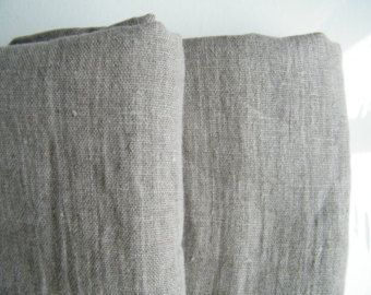 2 Natural Stonewashed Ruffled Linen Pillowcases - Shams - Covers - Queen Size - Prewashed, Softened  - Gray Ecru -  Natural Linen Bedding.