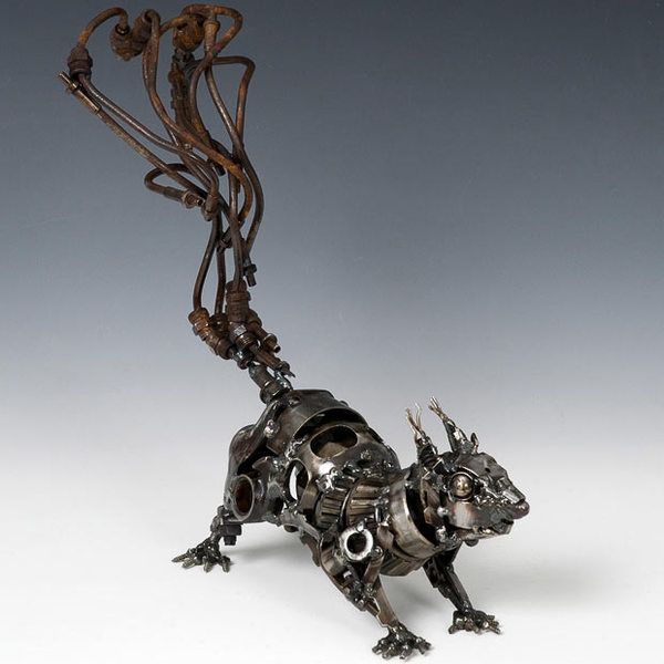 Best Upcycled Animal Art Images On Pinterest Sculptures - Salvaged scrap metal transformed to create graceful kinetic steampunk sculptures