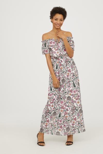 7b0271705fc Long Off-the-shoulder Dress - White floral - Ladies