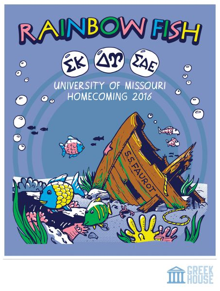 Homecoming t shirt via greek house | Sigma Kappa | SAE | sigma alpha epsilon | SK | delta gamma | DG | university of missouri | rainbow fish | under the sea | sorority | fraternity | greek shirt designs | recruitment | greek life | big little reveal | sorority crafts | sorority themes | t shirt ideas | frat tank | bid day | greek apparel