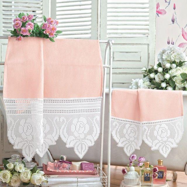 Parure asciugamani, crespo di lino, schema e occorrente