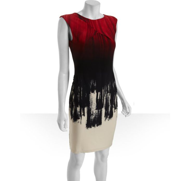 I need a place to wear this!   Calvin Klein red and black printed jersey knit cap sleeve dress