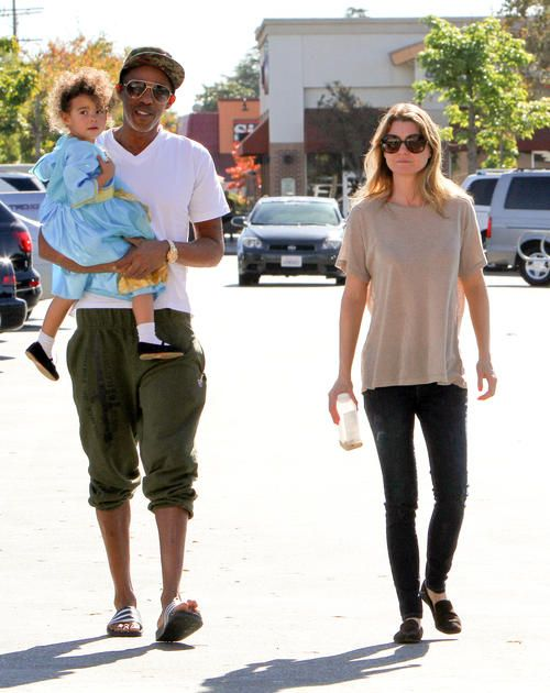 Ellen Pompeo's Party Princess Ellen with husband, Chris Ivery and daughter Stella, leaving ToysRUs..