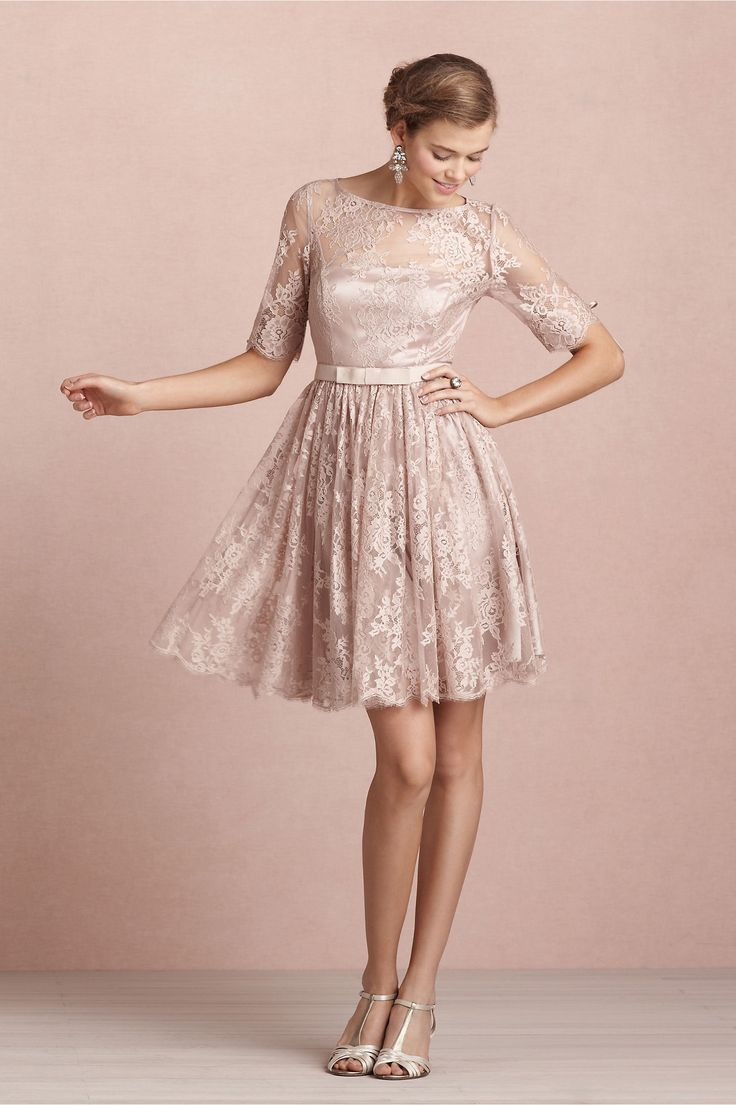 30 best bridesmaid dresses images on pinterest vintage elegant a line lace tea rose dress bridesmaid dresses almost all the girls like the lace design with mysterythe short sleeve and train makes you ombrellifo Gallery