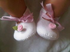 White with pink rose felt baby shoes