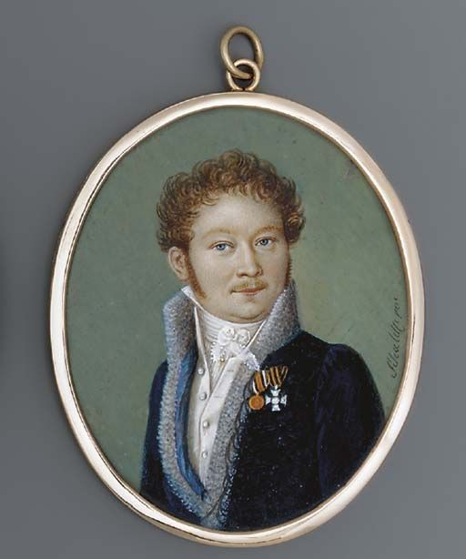 HEINRICH FRANZ SCHALCK (1791-1832)  A double-sided miniature of a gentleman; he, facing right in fur-bordered blue coat with black braiding and pale blue lining, white waistcoat and knotted cravat, curling fair hair and sideburns, wearing two orders including the badge of the Imperial Russian Order of St George;   signed 'Schalck pin' (lower right) and 'Schalck pinx' (lower right)  oval, 2 1/16 in. (53 mm.) and 2 1/8 in. (54 mm.) high, double-sided gilt-metal frame