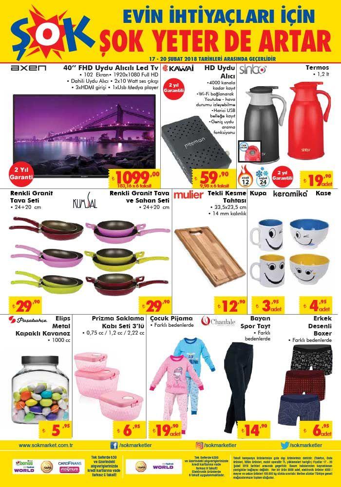 """Şok marketlerde hafta sonuna özel kampanyalar devam ediyor. Şok aktüel ürünlerde bu hafta sonu17-20 Şubat 2018 tarihleri arasında geçerli olacak indirimli fiyat fırsatlarını aşağıdaki kampanya kataloğunda bulabilirsiniz. Şok kataloğunda 25 TL ve üzeri alışverişlerde Aytaç klasik kangal sucuk 8 TL fiyatla satılacak. Duracell 8'li fırsat paketi kalem pil 10 TL fiyatla sizi bekliyor. Axen 40"""" full hd uydu alıcılı led tv yorumları Birçok takipçimiz Şokta satılan Axen 40"""" ekran full..."""