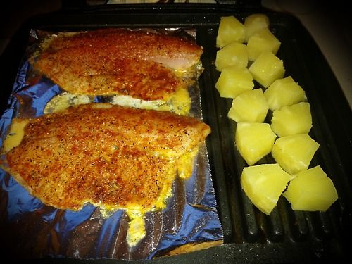 Grilled tilapia and pineapple quick and easy meal for George foreman grill fish
