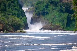 Murchison Falls.....Murchison Falls, also known as Kabarega Falls, is a waterfall on the Nile. It breaks the Victoria Nile, which flows across northern Uganda from Lake Victoria to Lake Kyoga and then to the north end of Lake Albert in the western branch of the East African Rift.