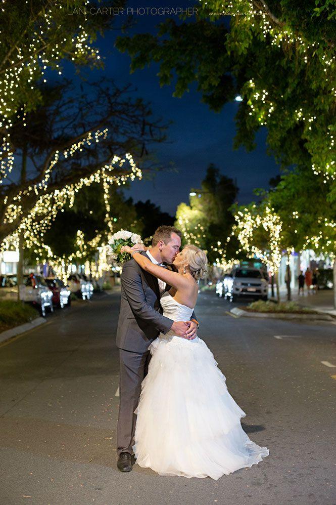 Bride and groom at Hastings Street Noosa. www.lanicarter.com