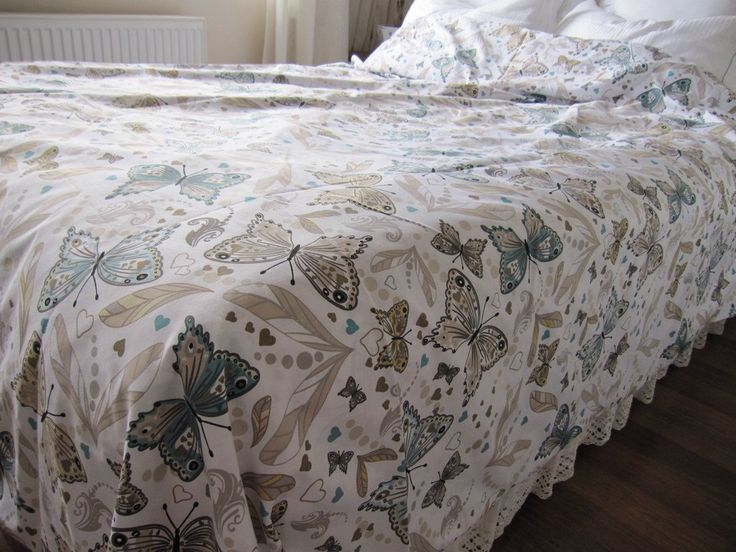 Butterfly print Queen King duvet cover - Blue brown shabby chic mediterranean bedding by nurdanceyiz on Etsy https://www.etsy.com/listing/157122000/butterfly-print-queen-king-duvet-cover