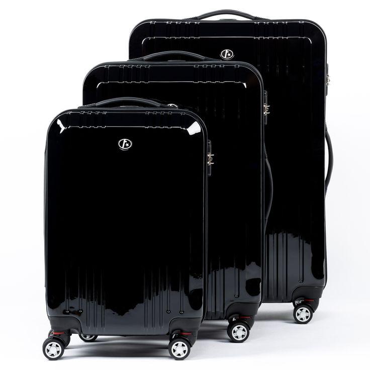 FERGÉ Dreier Kofferset CANNES - Trolley-Koffer schwarz glänzend Reisegepäck Koffer & Trolleys