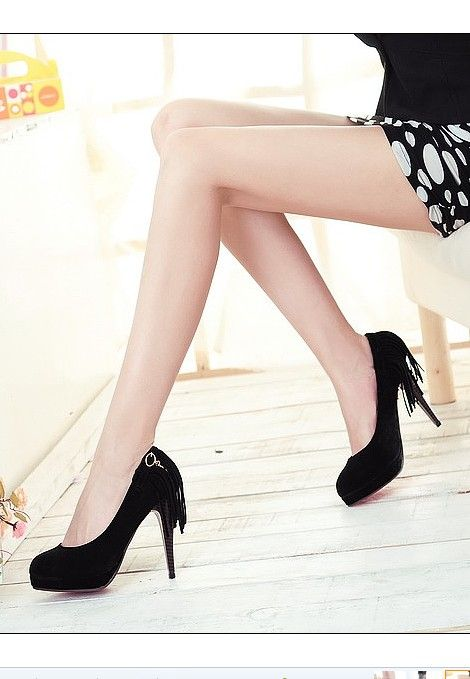 #Shoe Pendant#Fringe Embellished Shoe Pendant Pumps Black http://www.clothing-dropship.com/fringe-embellished-shoe-pendant-pumps-black-g1382279.html