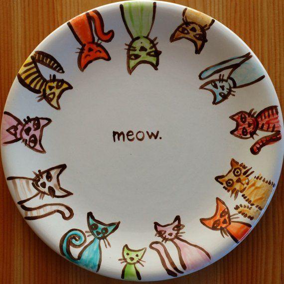 Meow plate porcelaine peinture sur porcelaine et peinture for Can ceramic be painted