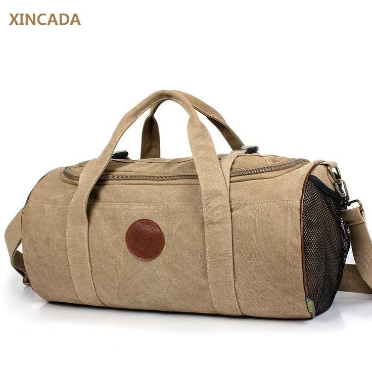 XINCADA hot selling cowhide logo stylish mens canvas travel bags bucket shaped luggage bags cool canvas shoulder bags