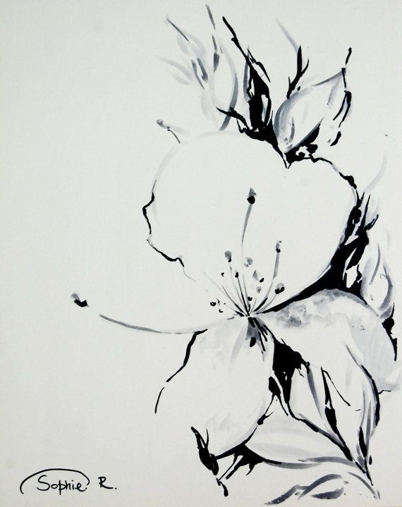 black and white flower sketch - Google Search