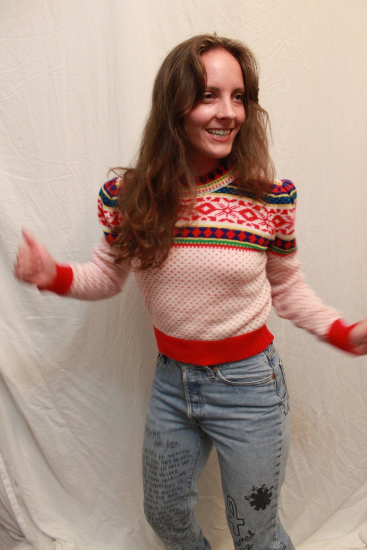 Vintage 80s Collage Puffed Sleeved Crop Top Sweater. $12.00, via Etsy.