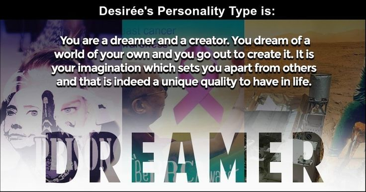 <b>Desirée</b>, your personality is one of a kind. It is composed of values which drive you and are a part of your persona. But the one quality that shines brighter than any other is this one. It is your defining characteristic and this is what people notice when they know you. Share this with your friends and let them know which personality type you belong to and why.