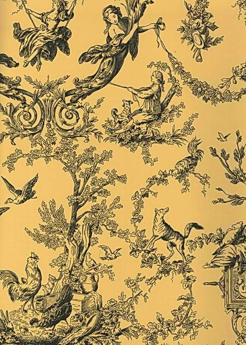 Black toile wallpaper yellow black at4236 old world for Wallpaper traditional home