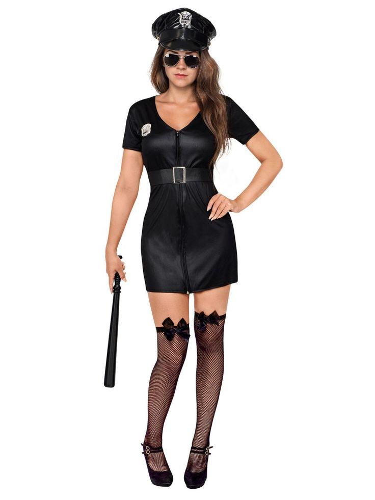 Polizistin Kostüm in schwarz, mit Mütze und Gürtel - VinTageBuch