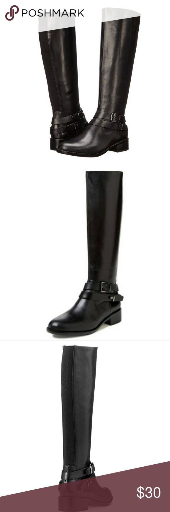 Black Leather Riding Boots 8 Zipper Stretch Flat Full description to come... French Connection Shoes Combat & Moto Boots