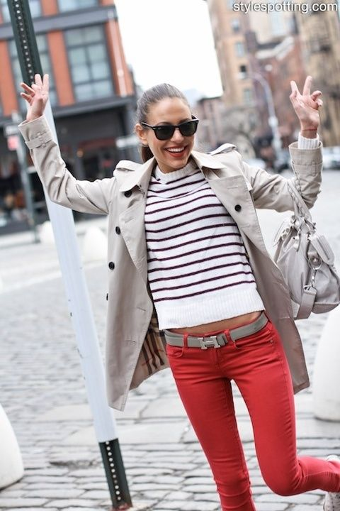 nautical stripes + hermes belt + trench = perfection