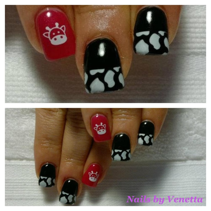 Nail Cake Blue Black Splodges Cow Print: Nails By Venetta On Pinterest