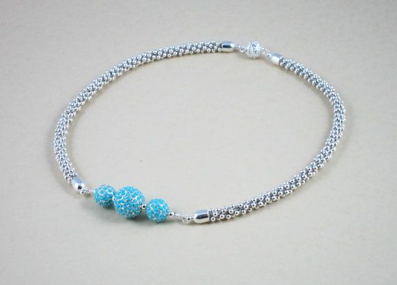 Beadelle Crystal Resort Collection pave beads collar. Beaded Kumihimo necklace