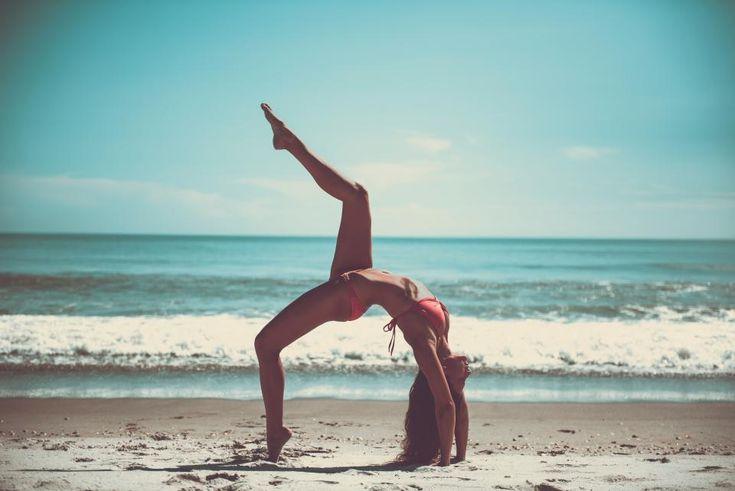 yoga pose stretch health fitness working out bikini beach sand sunshine summer ocean sea waves water shore girl woman people beauty